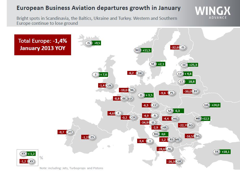 European Aviation Departures Growth in January 2013