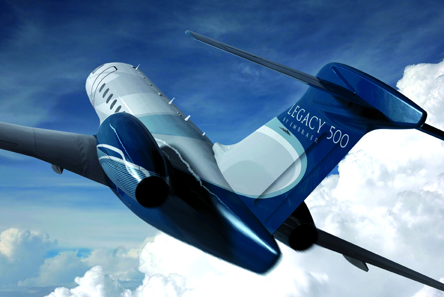 Embraer's Legacy 500, which is a direct rival to the Challenger 300, will make its international debut in Geneva