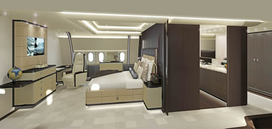 Wide body cabin interiors by Jet Aviation Basel Design Studio - Timeless bedroom