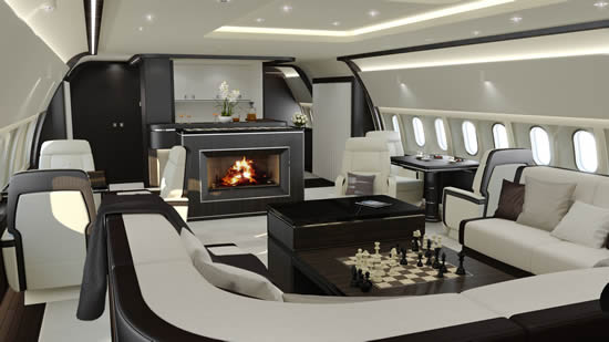 Wide body cabin interiors by Jet Aviation Basel Design Studio - Timeless Lounge