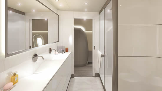 Wide body cabin interiors by Jet Aviation Basel Design Studio Visionary - Master bath