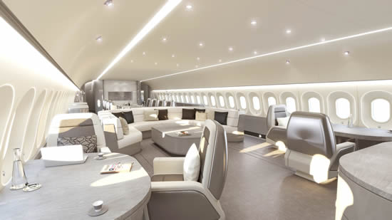 Wide body cabin interiors by Jet Aviation Basel Design Studio - Visionary lounge