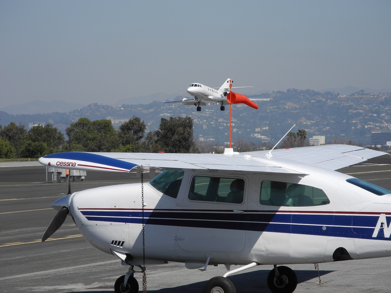 Santa Monica Airport private jet taking off
