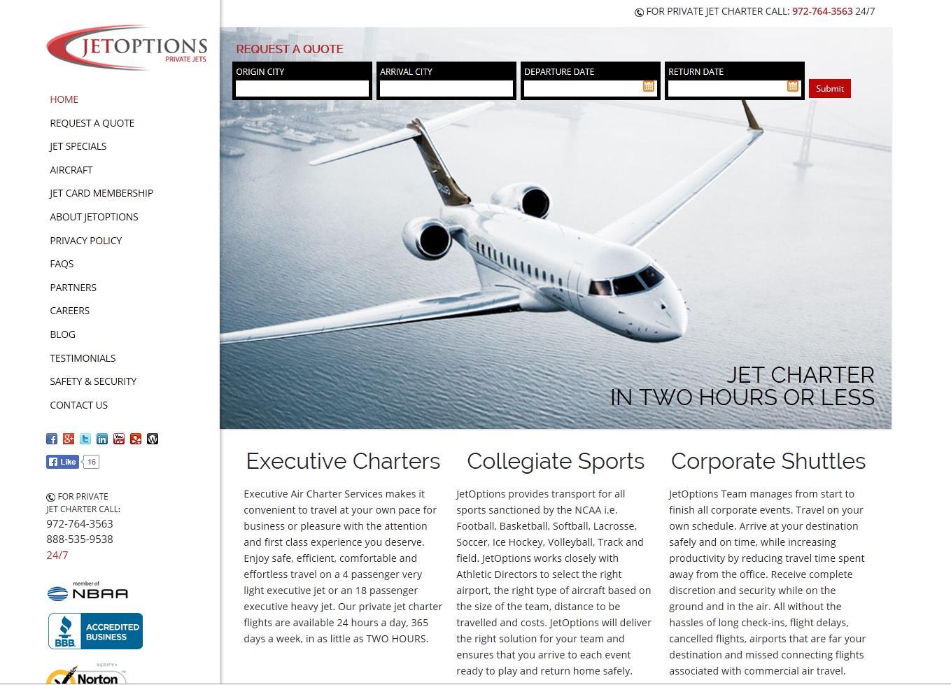 JetOptions redesigns website
