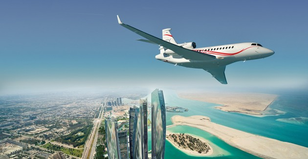 Dassault prominent in Abu Dhabi Air Expo Falcon-7X-flying-over-Etihad-towers