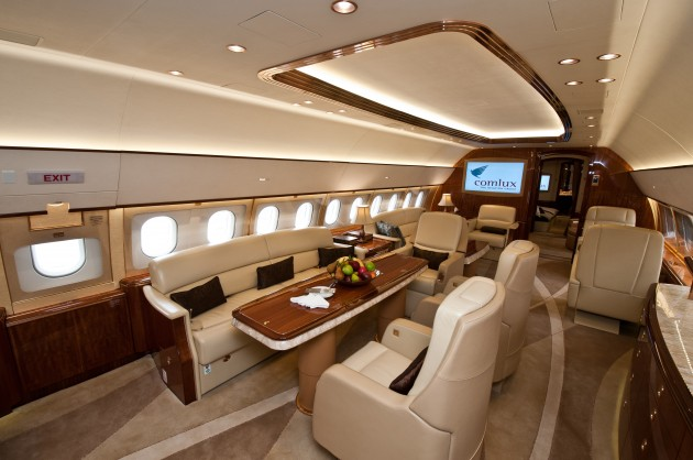 Airbus is exhibiting an ACJ319 corporate jet at ABACE