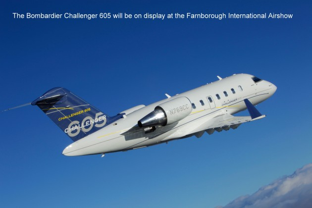 Bombardier Challenger 605 will be on display at Farnborough Airshow
