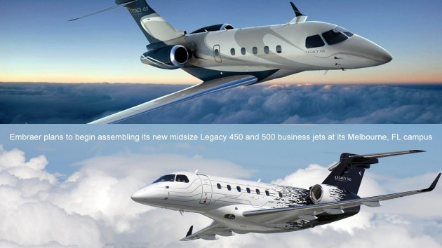 Embraer plans to begin assembling its new midsize Legacy 450 and 500 business jets in Florida