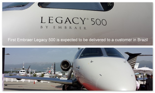 First Embraer Legacy 500 is expected to be delivered to a customer in Brazil this Thursday