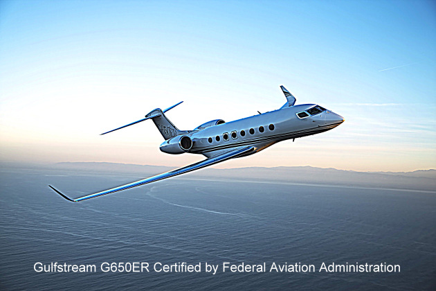 Gulfstream G650ER Certified by Federal Aviation Administration
