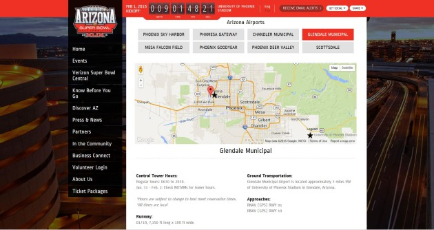 Official website of the Arizona Super Bowl Host Committee screenshot
