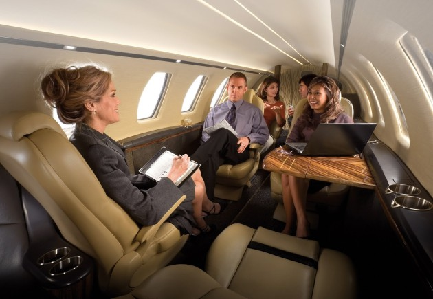 Private jet office meeting