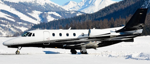 Cessna Citation jet in snow