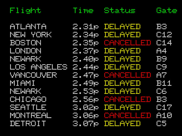 Delayed flights board