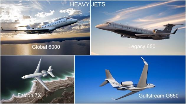 Heavy Jets: Global 6000, Legacy 650, Falcon 7X, G650