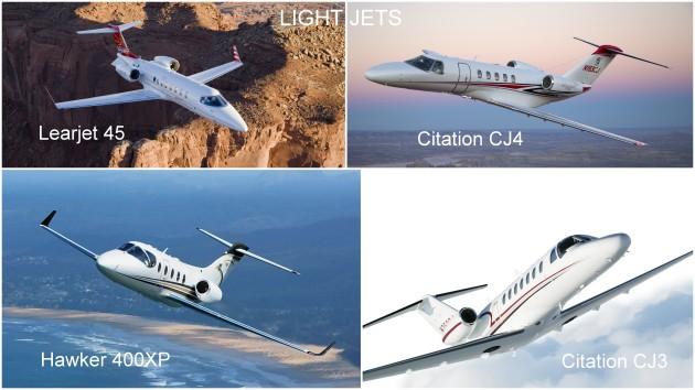 Light jets: CJ3, CJ4, Hawker 400XP, Learjet 45