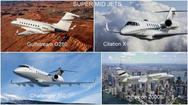 Super Mid Jets: Gulfstream G280, Citation X, Challenger 350, Falcon 2000S