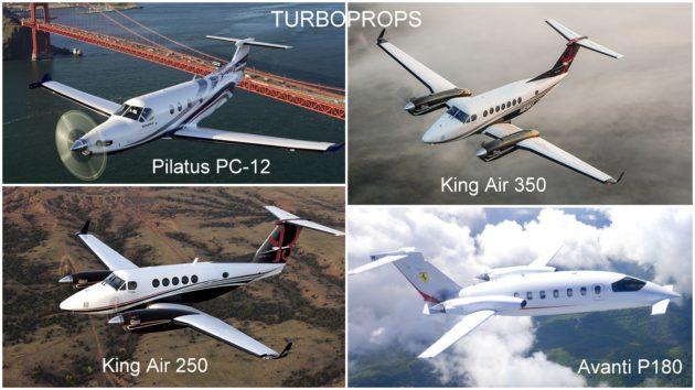 Turboprops: King Air 350, King Air 250, Pilatus PC12, Avanti P180