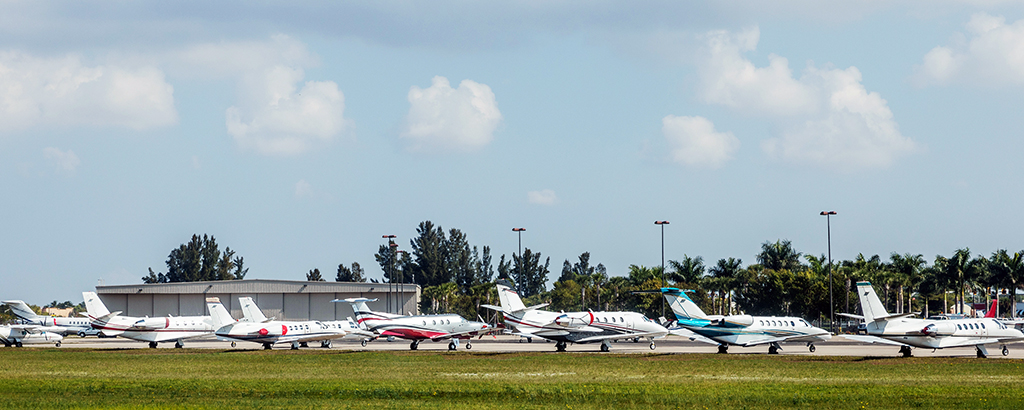 Miami Private jets parked at the airport