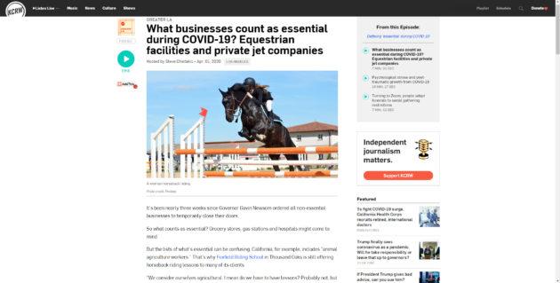 KCRW story on essentail private jet companies JetOptions