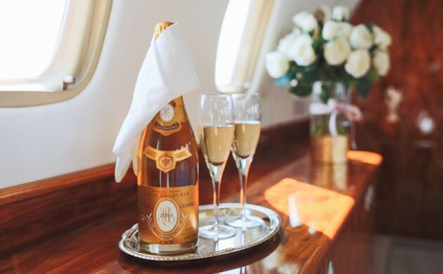 Crystal champagne private jet JetOptions